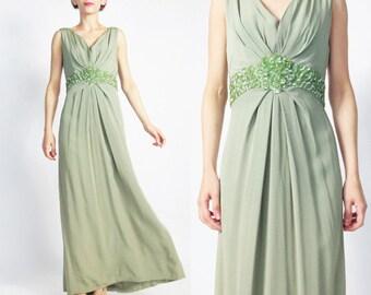 1960s Sequin Evening Gown Moss Green Evening Dress Empire Waist Dress 1960s Green Party Dress Sleeveless Pleated Draped Evening Gown S E715