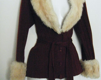 GLAM 1970s BUNNY Fur Sweater with Portrait Collar, Cuffs and matching belt, size m - l