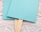 20 ct. Pre-Assembled Soft Teal Blank DIY Wedding Program Cardstock Fans with Wooden Handles - 5-1/2 x 9""