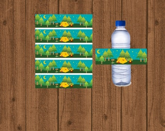 Camping Water Bottle Labels, Camping Water Wrappers, Boys Camping Birthday, Camping Party Decorations