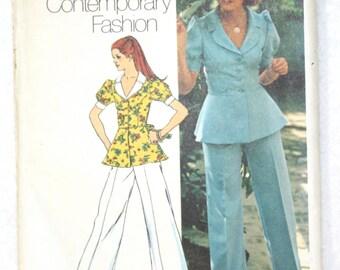 "Sz 14 Bust 36"" Vintage 1973 Simplicity Sewing Pattern 5630 Peplum Jacket Top and Wide Leg Pants Waist 28"""