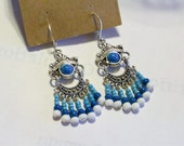 Turquoise Blue White Chandelier Earrings     Free Shipping in USA