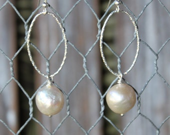 Freshwater Pearl with Sterling Hoop