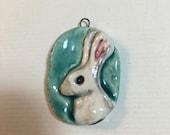 Rabbit hare portrait ceramic pendant white turquoise
