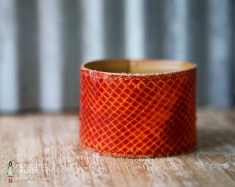 WONKY HANDSTAMPED CUFF - bracelet - personalized by Farmgirl Paints - burnt orange distressed leather cuff