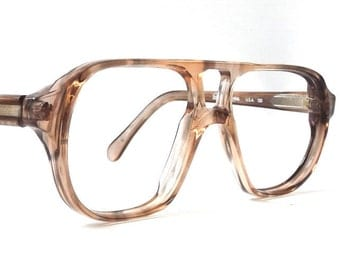 vintage 70's NOS double bridge eyeglasses aviator clear brown plastic frames youth kid child children eyewear retro modern eye glasses usa