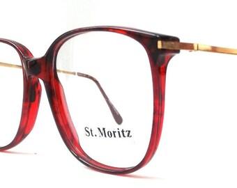 vintage 1980's NOS eyeglasses oversized round red marble plastic frames gold metal arms prescription mens womens modern eye glasses eyewear