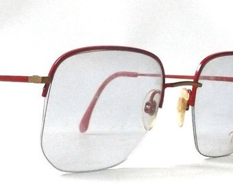 vintage 1980's NOS viva eyeglasses oversized square red gold metal frames prescription womens mens eye glasses eyewear italy half rimless