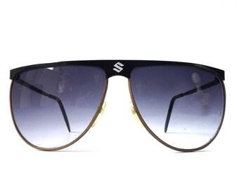 vintage 1980's NOS aviator sunglasses black metal frames sports purple lenses sun glasses eyewear sport cop oversized men women retro modern