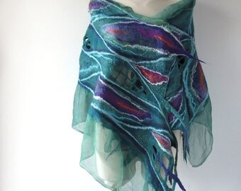 Nuno felted Scarf  Blue Turquoise  galaxy Silk Wool Cozy scarf Curly felt stole Shawl