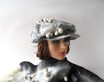 Felted beret winter warm hat Wool beret warm  wool hat Grey white cap Warm winter women hat, felted cap