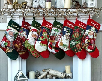 Personalized Needlepoint Christmas Stockings- Santa Snowman - Embroidered with Names for the Whole Family
