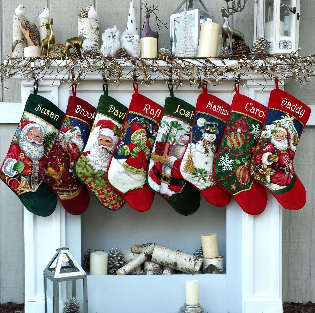 Embroidered christmas ornaments - Personalized Needlepoint Christmas Stockings Santa Snowman Embroidered With Names For The Whole Family