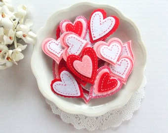 Layered Felt Hearts  / Valentine Hearts / Junk Journal / Heart Stickers