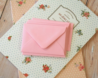 PINK Coloured Mini Envelopes & Note Cards 10pc set