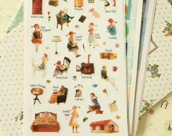 Daddy Long Legs Classic Story Series cartoon stickers set