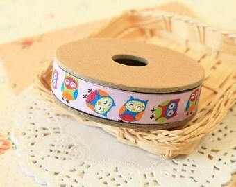Little Happy Owls cartoon jacquard woven ribbon trim