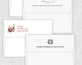 Add ON - Return Address Design on Flap or Front of Envelope