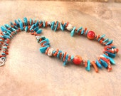 Wild Coral Necklace Rare Mediteranean Branches with Arizona Blue Turquoise Sticks Fossilized Seashells Rustic Artisan Jewelry