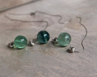 On Sale Green Fluorite Globes on Oxidized Sterling Chain with Hill Tribe Fine Silver Origami Beads Sea Green Gemstone Jewelry