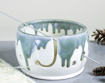 Knitting Yarn Bowl, White with sage silver highlights, Misty Mountain, 3 EXTRA Holes Yarn holder multiple yarn balls