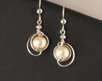 Cream Pearl Sterling Silver Drop Earrings, Unique Wire Wrapped Pearl Earrings, Wedding Jewelry