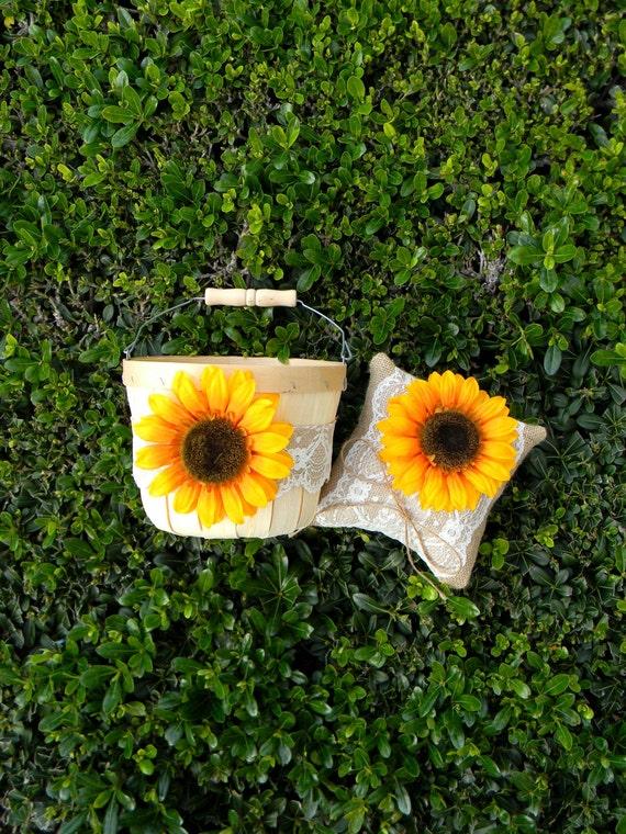 Sunflower Flower Girl Basket & Sunflower Ring Bearer Pillow Set Rustic Barn Farm Wedding Sunflower Wedding Burlap And Lace Ring Pillow