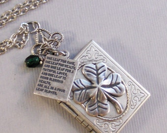 Irish Poem,Clover,Clover Necklace,Clover Locket,Poem Locket,Locket,Shamrock,Antique Locket,Silver Locket,Clover,Luck,Irish,Lucky, Shamrock