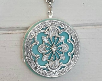 Tiffany Vintage style Locket Necklace - Vintage Antique silver Ornately Decorated Pendant Jewelry, Weddin gift- friends, family, anniversary