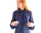 Dark blue secretary blouse with dots, Japanese vintage, medium