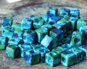 Greek Mykonos Beads - 5.5mm Small Cube Beads - Jewelry Making Supply - Little Squares - Choose Amount - Aegean Blue Green