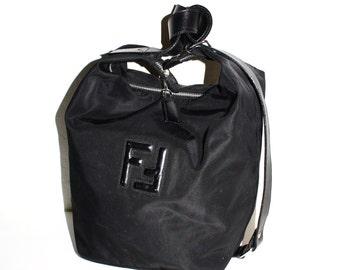 Vintage FENDI Handbag Black Nylon Tote Leather Monogram Shoulder Sling - AUTHENTIC -