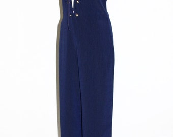 YVES SAINT LAURENT Vintage Rive Gauche Jumpsuit Navy Safari Lace Up Romper