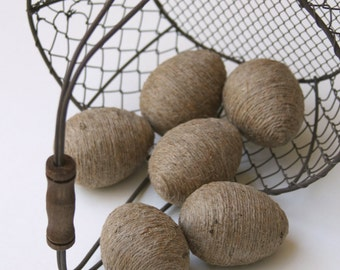 Jute Twine Eggs, Half Dozen, In Natural Twine, Bowl or Basket Fillers, Spring Decoration, Easter Decor, Kitchen, Rustic, Country French.