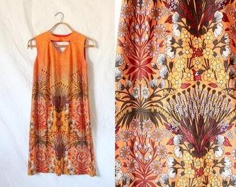 c1960's Desert Floral Keyhole Dress