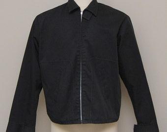 1950s men's black cotton light jacket/ 500s men's black jacket/ Waldorf