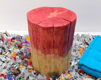 Ombre Red Stump Table Stool
