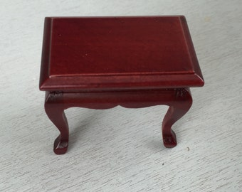 Miniature Mahogany End Table, Dollhouse Miniature, 1:12 Scale, Dollhouse Furniture, Mini Table, Side Table, Wood End Table