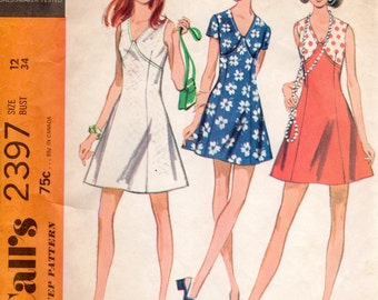 1970s Flared Mini Dress - Vintage Pattern McCall's 2397 - Bust 34