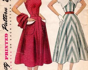 1950s Dress with Tie Shoulders & Bolero - Vintage Pattern Simplicity 3490 - Bust 36