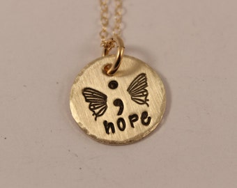 Hope - Hand Stamped Semi Colon Butterfly Necklace - Semicolon Necklace - Brass with Gold Filled Chain