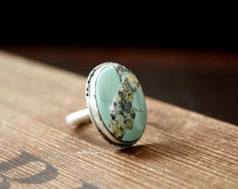 HANDMADE// Green Turquoise Oval Metalsmith Sterling Silver Ring- Size 7