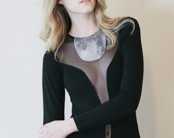 Moonsuit - Black bodysuit with moon and sheer mesh inserts