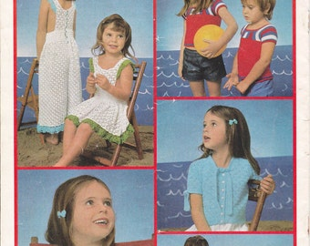 70s Vintage Knit & Crochet patterns 4 ply Childrens Summer Tops Swimwear Jumpsuit Patons 426 Booklet