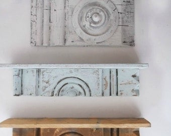 Antique Rustic Architectural Wall Art. Painted Chippy Shabby Wall Sconce. Ooak Wood Shelf.  French Blue Shabby Chic Wall Decor