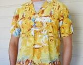 Vintage soft thin Italian shirt 1960s M yellow mens