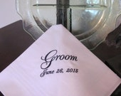 Personalized Groom machine embroidered wedding handkerchief by Simply Sweet Hankies