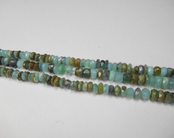 Gemstone Beads, Peruvian Green Opal Rondelles, Faceted,Spacer  Beads 8x3.5mm, 16pcs