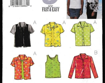 Butterick 5373 9 sew Fast and Easy Misses-Petite Shirt and Tank Top