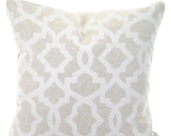 Tan Off White Decorative Throw Pillow Covers, Cushions Tan Off White Geometric Sheffield Linen Look Tone on Tone Pillow Couch Bed, ALL SIZES